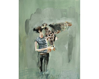The Messenger - Giclee Art Print, Hawk Painting, Spiritual, Hopeful Art