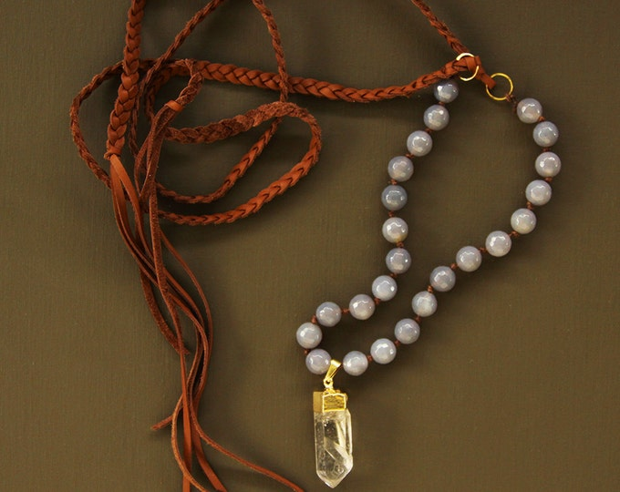 Long Boho Quartz Crystal Necklace - Crystal Bead and Leather Necklace - 14K Gold Filled Chain