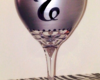 Personalized Hand Painted Wine Glasses, Silver Wine Glasses, Monogrammed Glasses, Wedding Gift, Bridal Shower, Girls Night Out, Birthdays