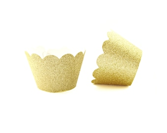 12 Gold Glitter Scallop Cupcake Wrappers - Cupcake Liners, Cupcake Cases, Cupcake Wrapper, Muffin Cups, Muffin Wrappers