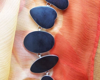 Vintage Black Abstract With Sterling Silver Bracelet