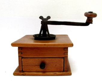 Vintage Coffee Mill or Grinder made of Wood and Cast Iron