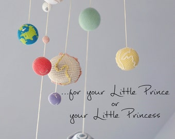 Pastel Solar System Planets Mobile - Pastel Baby Mobile - Educational Kids room decoration. Made to order
