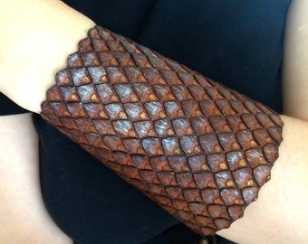 Dragon hide cuff - Hand tooled leather cuff bracelet / bracer with iridescent dragon scales - Archery bracer