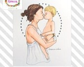 CUSTOM Mother & Child Portrait - Illustrated by Naava