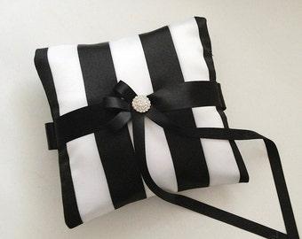 "Ring Pillow, Small Wedding Ring Bearer, Black And White Striped, 6"" x 6"" Pillow, Ring Pillow Bearer, Black Wedding Pillow"