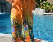 Glowing Sunset Silk Caftan,  Womens Silk Kaftans,  Silk Beach Coverup,  Silk Swimsuit Coverup, Resort Wear,