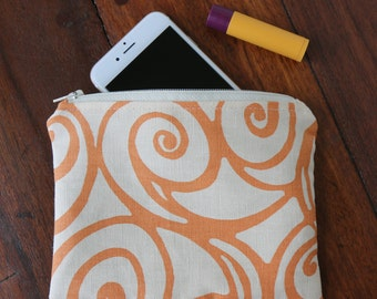 Orange Abstract Zippered Pouch, Orange and Cream Makeup Bag, Cosmetic Bag, Orange Toiletry Bag, Small Zipper Pouch - Orange with Aqua