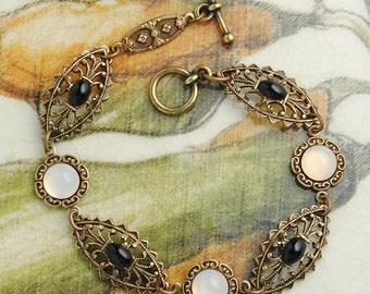 Classic Black and White Bracelet, Victorian Edwardian Bracelet, Vintage Bracelet, Merlin Jewelry, Black Onyx Pearl Bracelet, Black Tie Dress