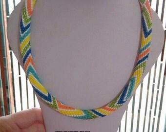 Geometric Bead crochet necklace - multicolour beaded crochet necklace - Ready to Ship  - SERMINCEJEWELRY