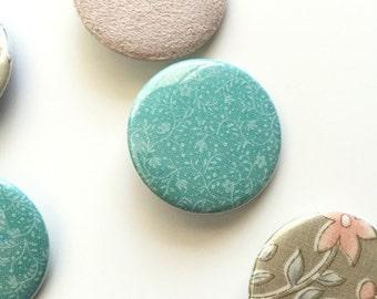SALE Seafoam Green Fabric Pin / Fabric Badge / Green Floral Pinback Button / Mint Brooch / Stocking Stuffer