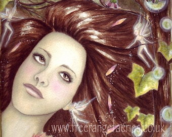 Loves Me, Loves Me Not A4 Art Print / Faerie Print / Fairy Art / Watercolour Faerie / Nature Goddess / Gnomes / Pixies / Forest / Woodland