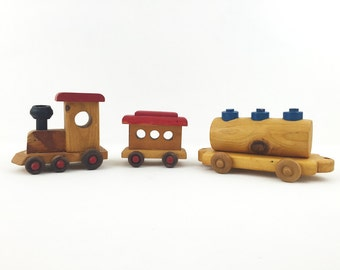 Handmade Wooden Train Set / Handcrafted Folk Art / Unique Kid's Room, Nursery Decor / Home Accent / Gift Idea