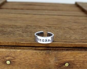 Vegan - Textured Aluminum Adjustable Ring
