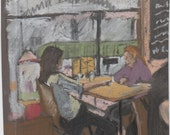 Two girls in a cafe, pastel drawing