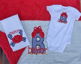 Custom and Personalized Matching 3 Piece Baby Set- Minky Baby Blanket, Burp Towel and Onesie
