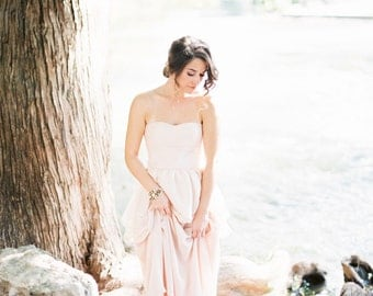 Blush Pink Wedding Dress, Romantic Wedding Gown, Silk Chiffon Wedding Gown, Tiered Wedding Dress, Fairytale Wedding Dress - Sweetbriar Gown