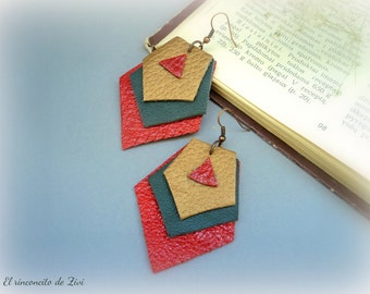 Leather colorful earrings, leather geometric earrings, dangle colorful earrings, red boho earrings, leather jewelry, green earrings