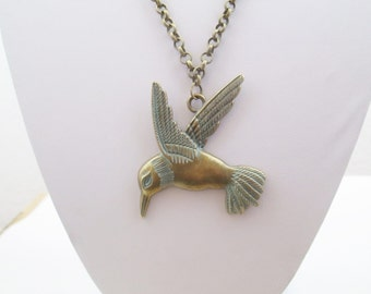 Patina bird  necklace