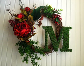 Personalized wreath, moss letter. monogram wreath, fall door wreath, wreath for fall, fall decor