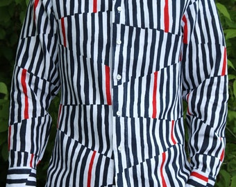Dark blue and red print linen classic handmade men's shirt