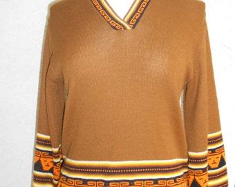 Vintage 70s Guatemala Ecuador Aztec Acrylic Knit  Hippie Sweater