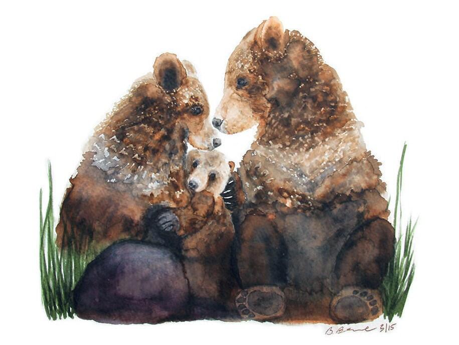 Bear Family Painting Woodland Nursery Art Bear By