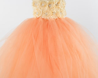 Flower girl dress - Tulle flower girl dress - Peach Dress - Tulle dress-Infant/Toddler - Pageant dress - Princess dress - Peach flower dress