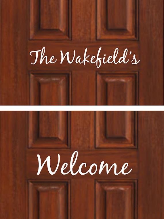 Decal, Personalized Front Door, Front Door Welcome Decal, Wedding Gift ...