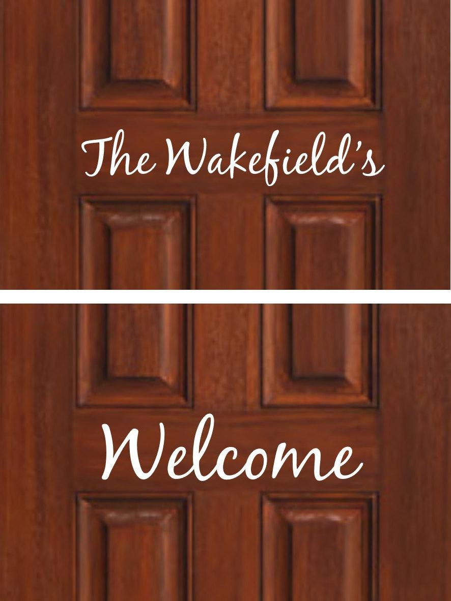 Front Door Decal Personalized Front Door Front Door Welcome