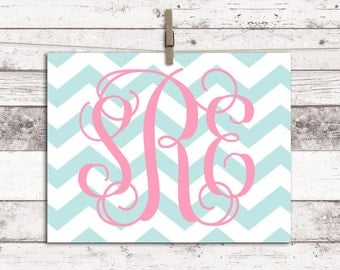 Baby Girl Nursery Decor, Monogram Wall Art Print, Canvas Nursery Prints, Kids Room Decor, Chevron Nursery Art, baby girl personalized gift