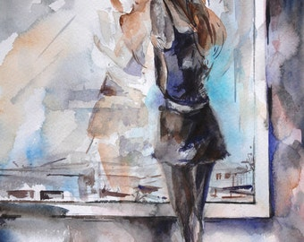 Original Watercolor Painting, Young Woman Looking at the Window, Watercolour Painting Art