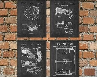 Soccer Patent Prints Set Of 4 - Football Patent Prints -  Soccer Wall Art Poster Set - Soccer Fan Gift Idea