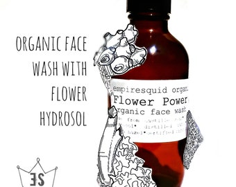 Organic Face Wash With Flower Hydrosol - Natural Face Wash - Organic Facial Cleanser - Organic Face Cleanser