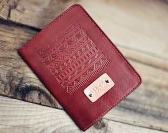 Personalized Leather Passport Cover, Real Leather, holder, travel, Aztec Passport Cover, handmade, Custom text, name initials
