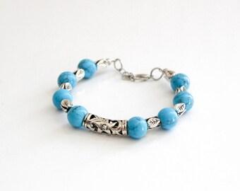 Turquoise Dyed Howlite Bracelet