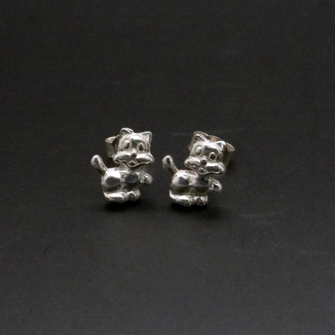 sterling silver stud earrings cat earrings 925 silver ear