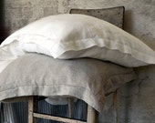 Luxurious stonewashed linen pillowcase Pure Elegance with hemstitch. Standard, Euro and King size. Pure linen bedding