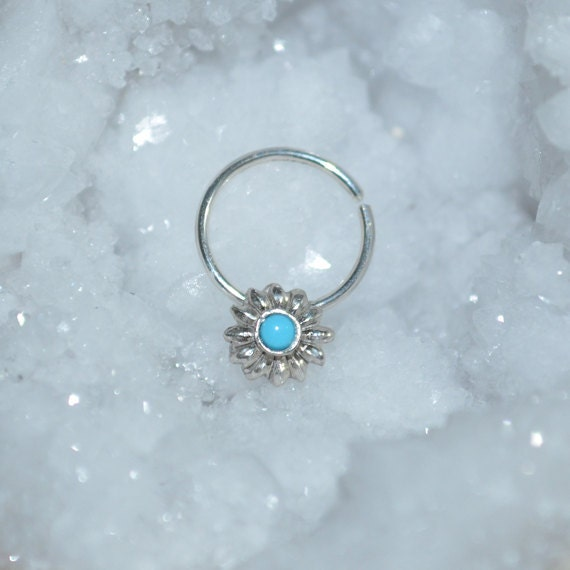 Silver Flower Septum Ring 18g - Turquoise Nose Hoop - Tragus Earring Hoop - Cartilage Hoop Earring - Nose Ring - Nipple Ring - Rook Jewelry