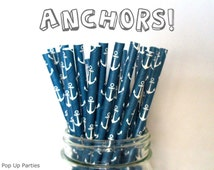 Navy Blue Anchor Straws (Anchors! - Pack of 25 or 50 Straws) **Weddings, Parties, Showers, Gifts* Navy Blue Anchor Party