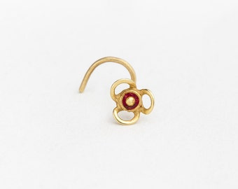Flower Nose Stud, Flower Stud, Flower Jewelry, Flower Piercing, Dainty Nose Stud, Dainty Nose Pin, Gold Flower Jewelry