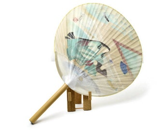 Vintage Japanese Fan. Uchiwa. Tennoji Temple. Bamboo and Paper Fan.