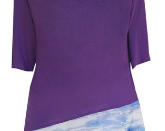 Women's Plus Size Tunic Top | Jersey with Hanky Hem for Plus Size Clothing 3x 4x