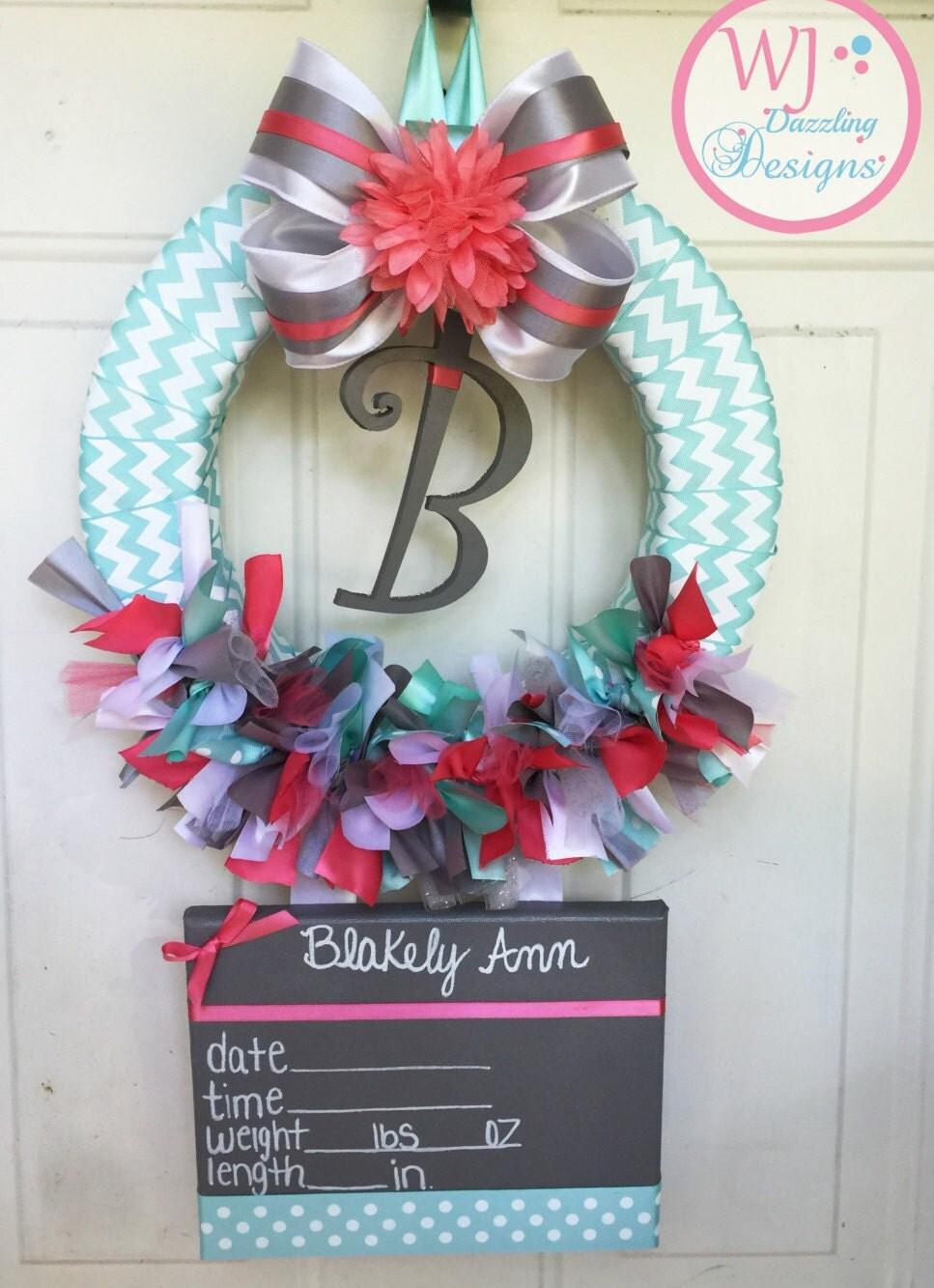 Baby girl wreath baby hospital door wreath by for Baby hospital door decoration