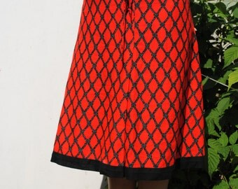 Vintage skirt, vintage midi skirt, red black skirt, colorful skirt, 70s skirt, vintage 70s skirt, rope pattern skirt