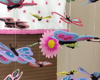 Butterfly Children's Mobile - Butterfly Baby Mobile - Butterfly Mobile - Flower Mobile - Nature Mobile - Handmade Custom Mobile