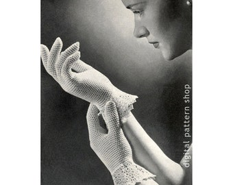 Vintage Crochet Gloves Pattern Womens 1950s Dainty Lace Gloves Crochet Pattern Gauntlet Wedding Gloves Instant Download PDF Pattern - C109