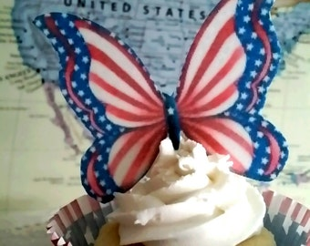 Edible Wafer Butterflies/Patriotic/Cupcake Toppers/Edible Toppers