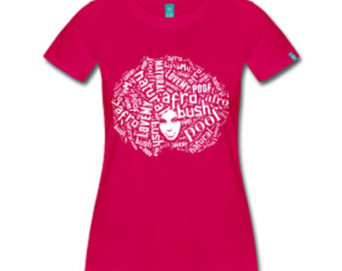 Love My Afro Women's Fitted T-Shirt - Fuschia