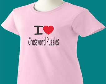 I Love Crossword Puzzles T-Shirt Heart Women Ladies